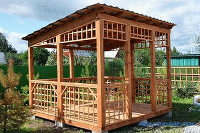 Arbor with a lean-to roof with their own hands