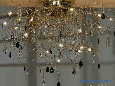 How to hang a chandelier on the ceiling (on the hook, with a bar) + photo