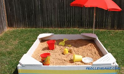 Children's sandbox with their own hands - photos and instructions
