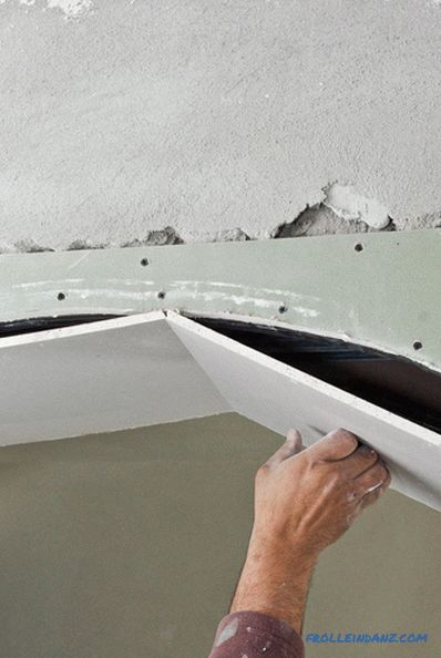 How to bend drywall and profile for its attachment