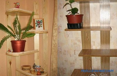Shelves for flowers do it yourself from wood, chipboard