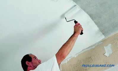 Whitewashing the ceiling with their own hands with chalk or water-based paint + Video