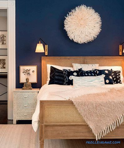 Blue color in the interior of the bedroom - 50 examples and design rules