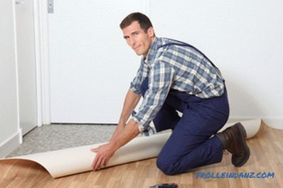 Laying linoleum on a wooden floor do it yourself (video and photo)