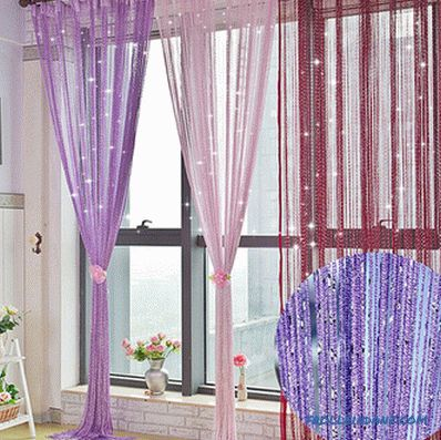 Cotton curtains in the interior - varieties, selection rules, methods of decorating, photo