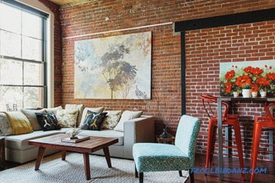 Brick in the living room interior - 100 decorating ideas and photos