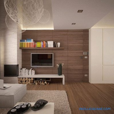 Laminate on the wall in the interior