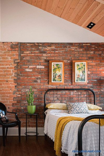 Brick in the interior of the bedroom - 60 examples of decor
