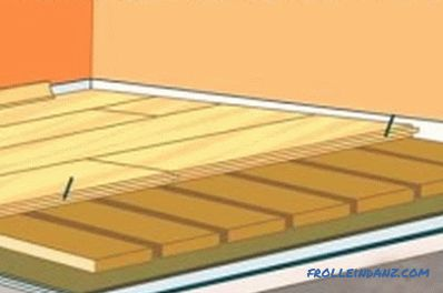 Laying wooden floor technology with lags (video)