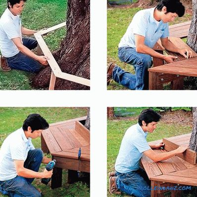 Bench around the tree do it yourself + drawings, photos