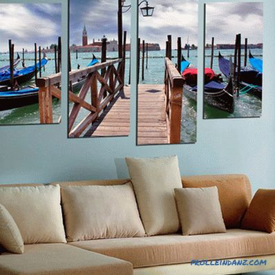 Modular pictures in the interior of the living room, bedroom or kitchen, photo ideas