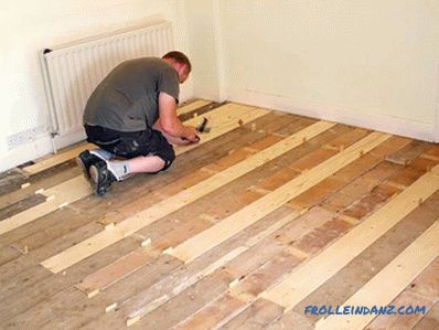 Warm floor under linoleum on a wooden floor