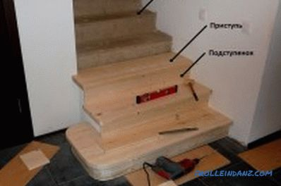 Concrete staircase lining with wood: choose the right material