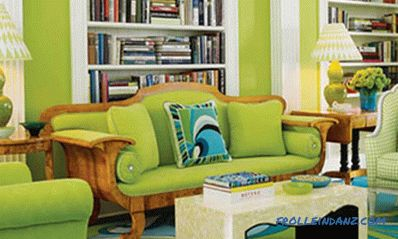 Pistachio color in the interior - kitchen, living room or bedroom and a combination with other colors