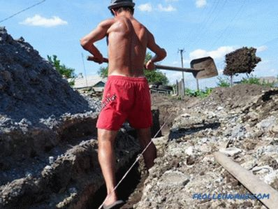 How to dig a trench for the foundation, water supply
