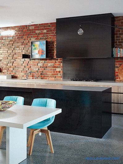 Brick wall in the interior of the kitchen