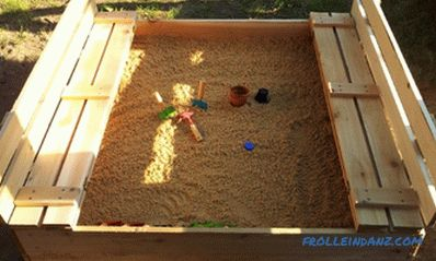 Children's sandbox with a cover with their own hands + Photo