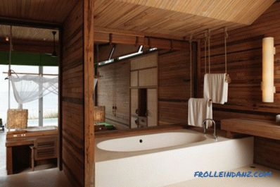 Wooden ceiling in the bathroom do it yourself