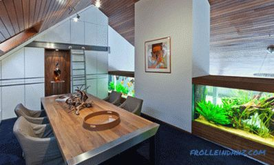 Aquarium in the interior of an apartment or house