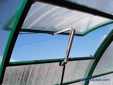 Automatic airing greenhouses with their own hands