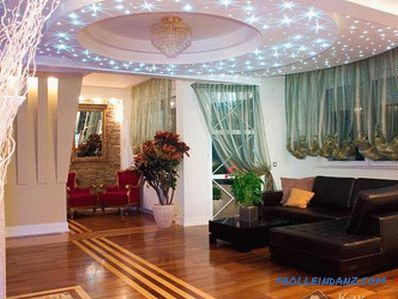 How to arrange spotlights on the stretch ceiling