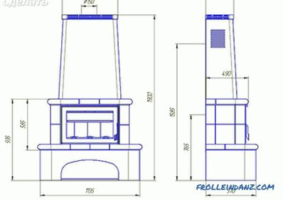 Wood fireplaces do-it-yourself + drawings, photos